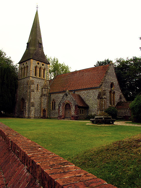 St. Michael and All Angels', Highclere, England, built in 1870 by Sir Gilbert Scott to replace the one next to the Earl of Carnarvon's classic and modest country house, after Scott transformed it into Highclere Castle. (geograph.org.uk)