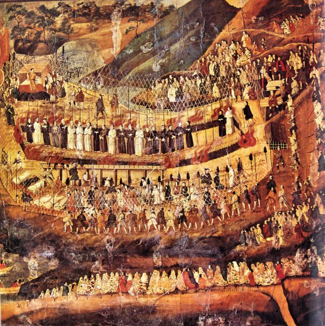 The 26 Martyrs of Nagasaki, Japan, a 17th century painting by an unknown Japanese artist. The first group of Japanese martyrs in 1597 were Jesuits, led by Francis Xavier, and Franciscans, whose missionary efforts obtained about 300,000 believers before the shoguns began to crush the Japanese Church; other martyrdoms followed. The two Roman Catholic orders rivaled each other for dominance, and the authorities came to believe that Europeans sent missionaries as a prelude to military control, citing events in the Philippines as an example. The Church was mostly extinguished, but a remnant of the faithful remained and were discovered 250 years later, though they had no priests or Scriptures.