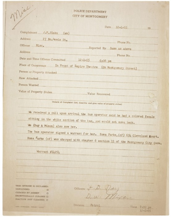 The police report of Rosa Parks' arrest in Montgomery, Alabama in 1955, when she refused to give up her seat on a bus to a White person. (National Archives) #BlackHistoryMonth