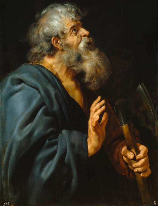 Peter Paul Rubens: St. Matthias. The eleven surviving apostles nominated him along with Barnabas, then cast lots - pebbles or sticks tossed from a container, then interpreted as a sign of God's preference, as described in Acts 1:23. Matthias took his place among the apostles before Pentecost, after which nothing further is definitely known about him. The strongest tradition says he served in Georgia near the Caspian Sea.