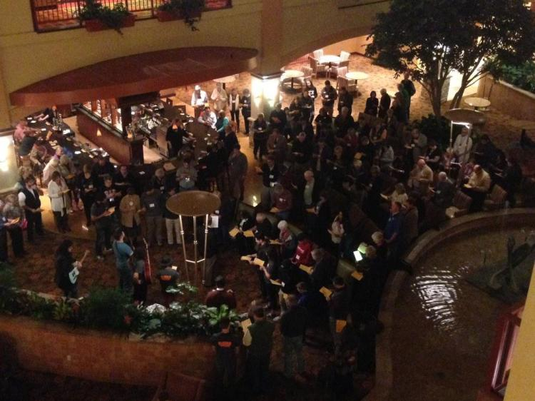 Delegates to the Diocesan Council (synod) of West Texas gathered for compline, February 2015. (via Twitter)