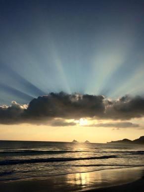 Light of the world over Kailua, Hawai'i. (Malia Zimmerman)