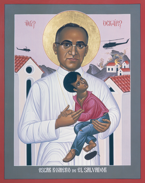 Oscar Romero, Archbishop of San Salvador, was a reliable conservative until he started seeing what the right-wing government, backed by the United States, was doing to the poor, including death squads and torture. He was shot to death while celebrating Mass near his cathedral. Nine months later four Maryknoll sisters were killed by the army, and nine Jesuit priests were murdered in 1989. (iconographer unknown)