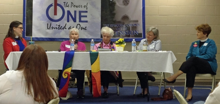 The Revs. Alison Cheek, second from left, and Carter Heyward, third from left, two of the Philadelphia Eleven who were the first women ordained Episcopal priests in 1974, recalled the tumult and the aftermath at an appearance 11 April before the Episcopal Church Women of the Diocese of Eastern Tennessee, meeting at Ascension, Knoxville.