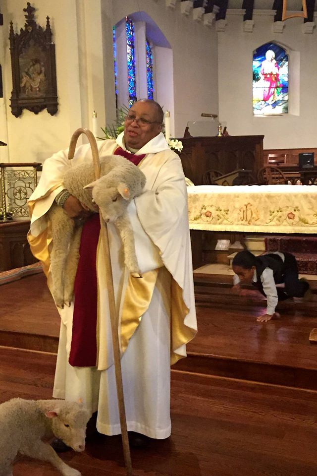 Good Shepherd Sunday at the Church of St. Andrew and Holy Communion in South Orange, New Jersey. Notice the boy under the altar. (The Rev. Sandye A. Wilson on Facebook)