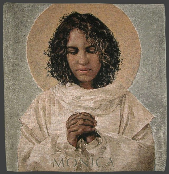 Monnica is famous for badgering her son St. Augustine until he finally became a Christian; his classic book The Confessions is a testament to her. But she also succeeded in winning her husband, a Roman soldier, to Christ. (Bosco Peters' Liturgy blog)