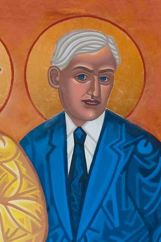 "Roland Allen icon, one of the ""dancing saints"" at St. Gregory of Nyssa, San Francisco. Here's how Dukes' All Saints Company summarizes Allen's career: ""Anglican missionary in East Africa who became a controversial, prophetic challenger of the existing order, seeking to change drastically the paternalistic colonial system of mission governance. He wanted to restore the pattern he saw in the Apostle Paul's missionary work: preaching the Good News, quickly raising up local leadership, trusting them with power, and moving on."""