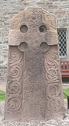A carved Pictish stone, circa 800, at Aberlemno Kirkyard, Scotland. The Picts loved to erect these carved steles with their mysterious symbols; a few survive from the period before Columba's arrival and lack the central cross; and they didn't stop building them once the country became Christianized. (Wikipedia)