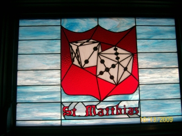 St. Matthias window by Les Chenoweth at Christ Lutheran Church, Cape Canaveral, Florida