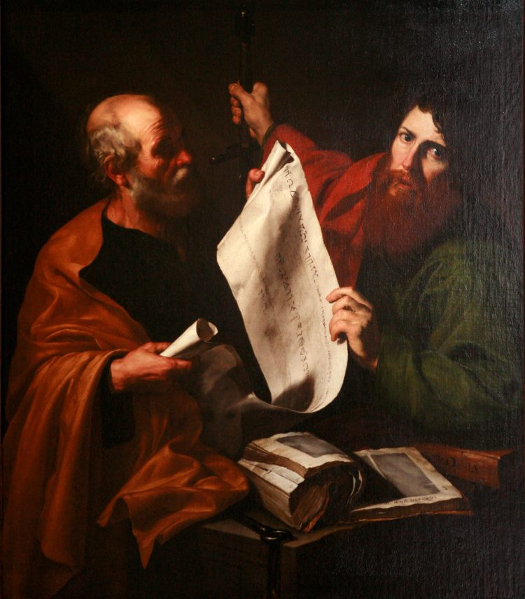 Jusepe de Ribera: St. Peter and St. Paul. Peter is nearly always portrayed as the older man.