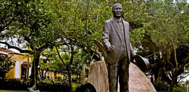 Luthuli statue in Stanger, KwaZulu-Natal. He was elected Chief of the Groutville Reserve in 1935, joined the ANC ten years later, and helped lead the nonviolent Defiance Campaign. He was arrested for high treason in 1956 but released for lack of evidence. After the Sharpeville Massacre he burned his travel passbook and was arrested again; when he won the Nobel Peace Prize in 1961 the apartheid government allowed him to travel to receive it. (southafrica.net)