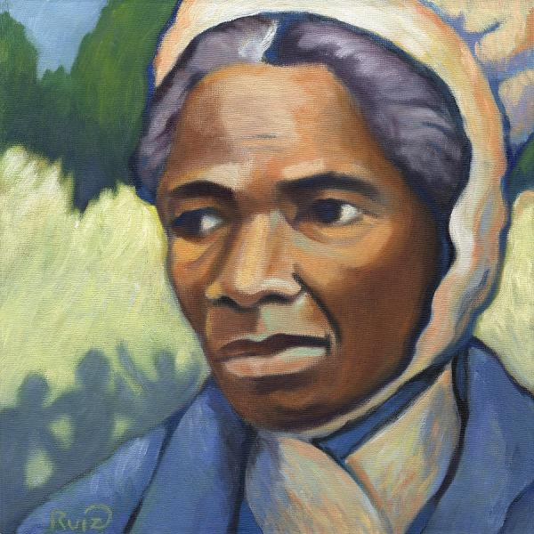 "Sojourner Truth fled slavery with the help of Quaker friends, and in middle age became a traveling preacher of uncommon power. She was illiterate but had much of the Bible committed to memory. At a women's rights convention in Ohio, she was treated differently than others by the proto-feminists, and pointedly asked, ""Ain't I A Woman?"" (Linda Ruiz-Lozito)"