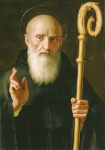 St. Benedict was a solitary monk in a cave west of Rome, who never intended to start a religious order at all; but gradually a community developed around him, attracted by his wisdom and simplicity, so he wrote a Rule for them to live by. Religious life hasn't been the same since. (artist unknown)