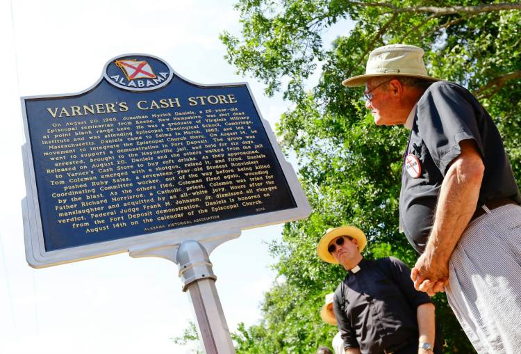 Varners Cash Store, where Jonathan Daniels was murdered, was torn down without notice this past year, but in its place a historical marker was unveiled Saturday during the annual pilgrimage sponsored by the Diocese of Alabama. (Selma Times Journal)