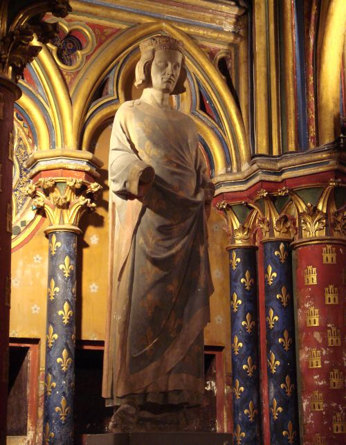 St. Louis, a just and pious man, is often called the model of a Christian king. This statue stands in Sainte-Chapelle, the magnificent basilica he built to house relics of Jesus. (Wikipedia)