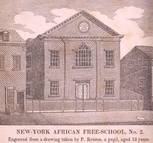 Elie Naud, a Frenchman who fled to England and then America after being imprisoned for refusing to conform to the the Roman Catholic Church, accepted a position as schoolmaster at Trinity Church, New York (and was later licensed by the Bishop of London) in order to teach Native Americans and African slaves to prepare them for baptism. This was his school.