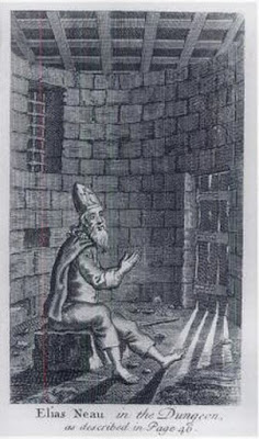 Elias Neau in the Dungeon. A French sailor who belonged to the Huguenot (Reformed) Church, he left for England then America when France revoked the Edict of Nantes, which had given Protestants limited religious freedom. In 1692 he commanded a merchant ship which was captured by a French privateer in Jamaica; when they discovered he was not Catholic, they reduced him to a galley slave and returned him to France, which imprisoned him, and eventually put him in solitary confinement when he wouldn't renounce his faith. While in prison he wrote hymns and letters to his wife and the American Puritan preacher Cotton Mather. These were published after he was released, and the New York Huguenot church made him an elder. In 1702 he established the city's first African free school with the help of the rector of Trinity Church and the Society for the Propagation of the Gospel in Foreign Parts. (rodama1789.blogspot.com)