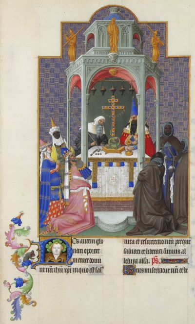 Exaltation of the Holy Cross, from the Très Riches Heures (Book of the Hours) of the Duc de Berry (Wikipedia)