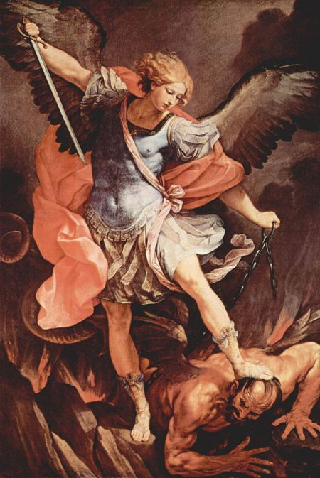Guido Reni, c. 1636: St. Michael's Triumph over Satan. (Church of Santa Maria della Concezione, Rome)