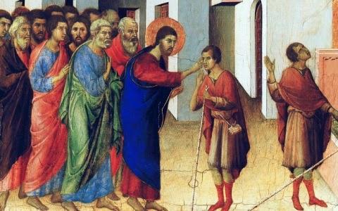 Jesus heals a blind men; iconographer unknown.