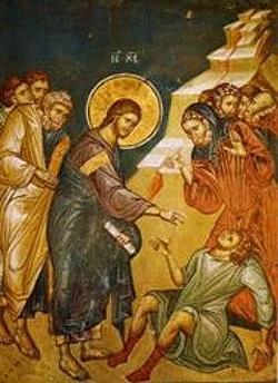 Jesus heals the epileptic boy; iconographer unknown.