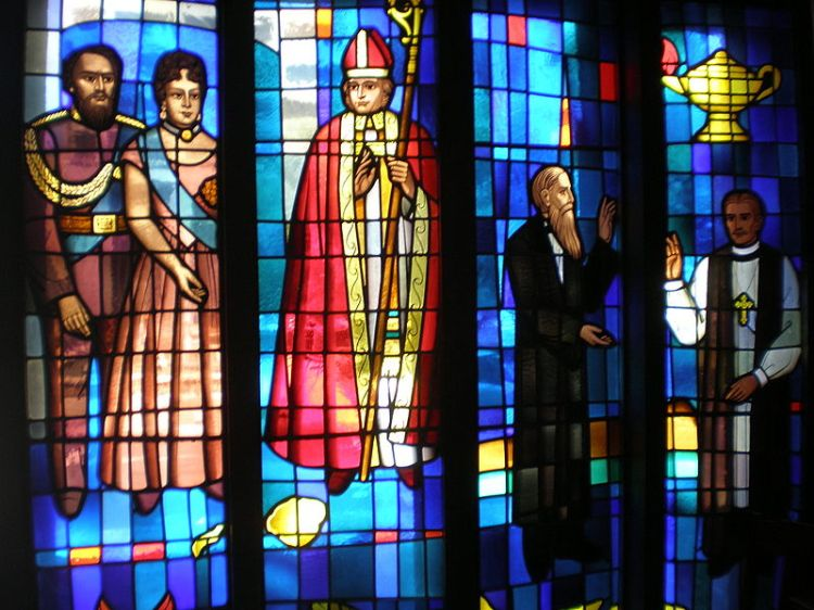 Kamehameha and Emma window, left, at the Cathedral of St. Andrew, Honolulu, which they founded. On the right is Sanford B. Dole, son of a missionary from New England, who became a wealthy landowner and enemy of the monarchy and helped engineer its overthrow, one of the great injustices of U.S. history.