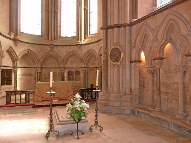 Bishop Grosseteste's chapel and tomb at Lincoln Cathedral. He was a man of enormous learning; a philosopher and theologian, mathematician and physicist whose findings presaged those of Roger Bacon. In his church work he instituted a system of visitations of all his deaneries and monasteries, which put him in conflict with the monastic Chapter of the cathedral, who thought they should run it, not the bishop. By the time it was done he'd suspended the dean, subdean and precentor. He also had somewhat stormy relationship with Pope Innocent IV, whose financial exactions he strenuously resisted - including a demand that Grosseteste pay so the pope's nephew could set up housekeeping. When Grosseteste died he was universally mourned among the English, but the pope made sure he didn't get canonized. (Wikipedia)
