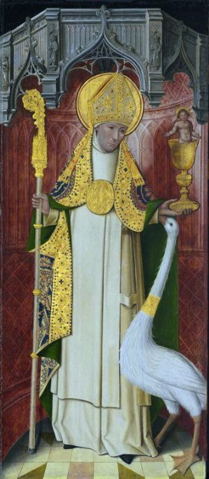St. Hugh with a swan. The swan was said to be so devoted to him it would follow him about and protect him, even while he slept, though it would attack anyone who tried to hurt him. (Art Institute of Chicago)