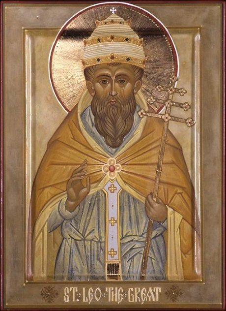 "Pope Leo is remembered for his negotiations with Attila the Hun and the Vandals as the Roman Empire was crumbling, but he has other claims to greatness, including dozens of ""five-minute sermons"" in which he expounded on doctrine. But his most lasting contribution perhaps is his letter to the Council of Chalcedon in 451, in which he laid out the dual natures of Christ, divine and human, in his person - a matter of great controversy at the time - that the assembled bishops declared the matter solved as if Peter himself had spoken. The Definition of the Union of the Divine and Human Natures in the Person of Christ is now printed in the American Book of Common Prayer, along with the Athanasian Creed and the 39 Articles. (Marek Czarnecki)"