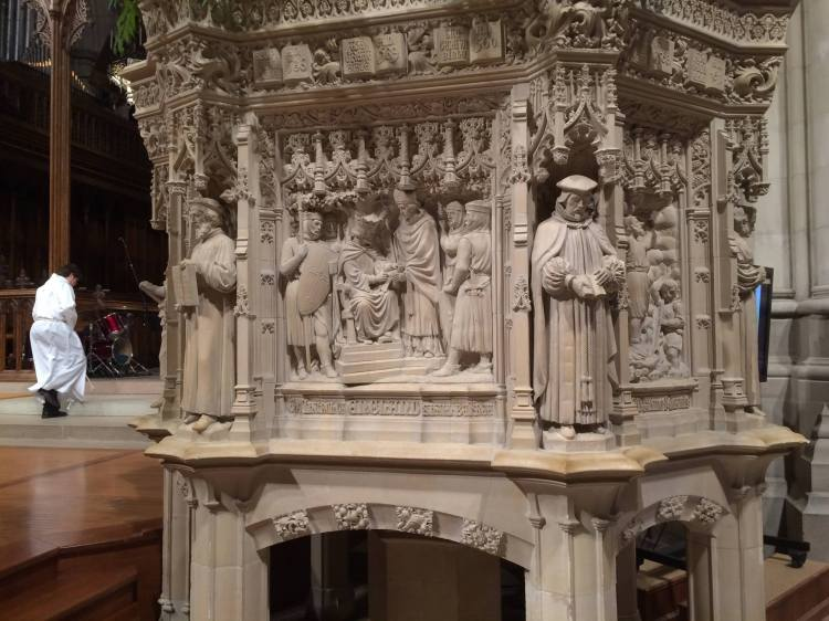 Pulpit at Washington National Cathedral, photographed last Sunday just prior to Michael Curry's installation as Presiding Bishop of The Episcopal Church. (Ellen Campbell)