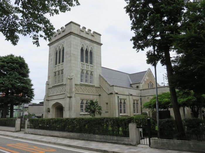 Christ Church, Yokohama, founded in the Yamate district in 1863, shortly after the formal Opening of Japan. This building, designed by architect Jay Hill Morgan, dates from 1931 and was severely damaged in World War II. (Wikipedia)