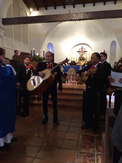 St. Clement's By-the-Sea, San Clemente, California, celebrated Our Lady of Guadalupe 2014 with a mariachi band. This native folk music arose in the 18th Century in rural central Mexico, migrated to the cities, took on European influences (waltz, polka), additional instruments and fancier costumes, until in the 1920s it became the national music and, in 2011, a UNESCO Intangible Cultural Heritage. (Katrina Soto)