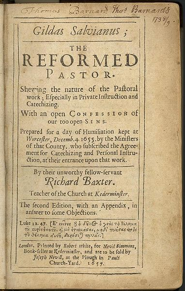 Mr. Baxter spent time in prison as a Nonconformist after his service with Cromwell's army; he was both a leading light of the Puritan faith and someone who wasn't easily pigeonholed, a Presbyterian who did not want to separate from the Church of England. That dream ended when Charles II tried to make him a bishop, because Baxter didn't believe in episcopal governance. Instead he thought the presbyterate as a whole should hold the apostolic authority collectively. At the same time, his theology of justification and sanctification included a righteousness of works, which is not the strict Protestant position. He didn't fit in anywhere in the either/or dualities of the time. Persecuted increasingly by both sides, he suffered greatly yet did some of his finest writing; long known as a convincing preacher, he was also an effective minister over a range of pastoral duties. His most famous book, The Reformed Pastor, distilled what he learned over 20 years at St. Mary & All Saints', Kidderminster.