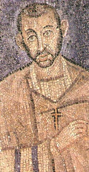 A mosaic of St. Ambrose in the church named for him in Milan; this is so old, known to date from late antiquity, that it may be a portrait made during his lifetime. (Wikipedia)