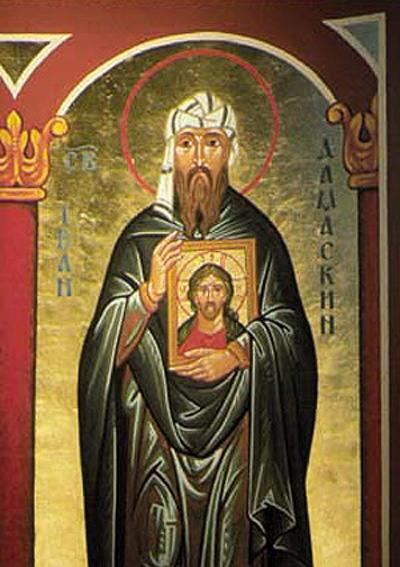 An icon of John of Damascus holding an icon of Christ tells a bit of the saint's story; he defended iconography against two distinct heresies, one holding that Christ was divine and not human, and the other that all physical matter is evil. Both, he said, rejected the Incarnation. He is also known as a hymnwriter, especially of the Resurrection. (iconographer unknown)