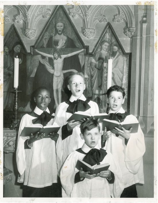 Midcentury choristers at Trinity Church, Wall Street, New York; some of these kids are probably retired by now. (parish photo on Twitter)