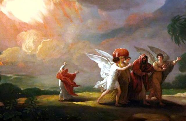 Benjamin West: Lot Fleeing Sodom. The story really does seem to be about Middle Eastern hospitality, as we saw with Abraham and these same angels a few days ago. As for God's destroying the cities of the plain, that appears to be theologizing after the fact, much as the Great Flood, as pre-scientific people looked to explain natural phenomena that were otherwise inexplicable.