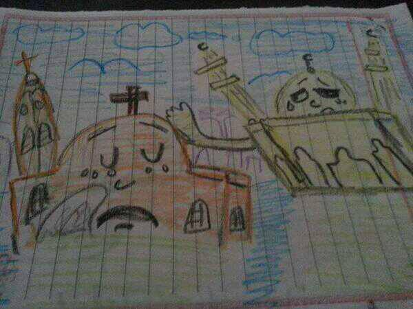 You may remember many instances across Egypt of Muslims protecting churches, providing aid and comfort to Christians during and after the violence two years ago; we featured some of them here. This schoolgirl's drawing of a mosque comforting a church went viral that year. Sisi has called on the nation's Islamic scholars to provide a moderating influence on society, but has met with resistance from the religious authorities as an encroachment on their independence. The New York Times reported the scholars are jealous for their prerogatives.