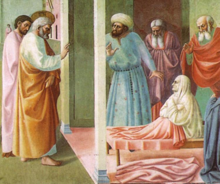 Masolino da Panicale, 1425: The Raising of Tabitha (the Aramaic version of Dorcas).  Her resurrection by St. Peter is recounted in Acts 9; all the widows were crying and showing him the robes and other clothing she had made.