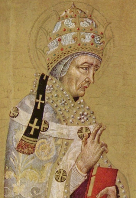 Giovanni di Paolo, c. 1450: St. Fabian. He was a layman when he was elected Bishop of Rome by acclamation; it's said that a dove landed on him in the midst of the crowd gathered for the election. As Pope he organized the parochial structure in Rome, appointed deacons and subdeacons to write the lives of martyrs so their memory wouldn't be lost, and was himself executed for the faith by the Emperor Decius, in the first persecution carried out throughout the empire.