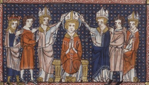"Unknown artist, 14th C.: Consecration of St. Hilary. The Arian heretics forced him into exile for four years, though he continued to write and administer his see; the epic battle over the doctrine of the Trinity arose in the 3rd Century, lasted for hundreds of years and has never entirely gone away; it rests on a single sentence in the Gospel of John where Jesus says, ""The Father is greater than I.""  Arius, a priest from Alexandria, took that to mean that Jesus was created and subordinate to the Father, not his equal - though John's Gospel begins with the assertion that ""In the beginning was the Word, and the Word was with God, and the Word was God."" St. Hilary was one of the foremost thinkers to put down the heresy. (Wikipedia)"