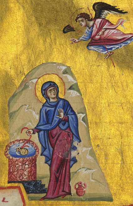There's never been much doubt that this 12th Century Byzantine icon shows the Annunciation of Mary; she is also at a well drawing water, startled by an angel above and behind her. (Biblioteque Nationale de France)