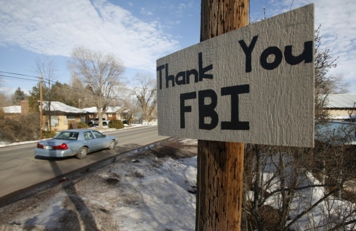Scene in Burns, Oregon, after the militia seizure of the wildlife sanctuary was ended last week. One of our members who lives nearby has been an outspoken community leader opposing the gunmen, even though she has felt threatened and exposed; we ask your prayers for Beth and the soothing of tempers. (Jim Urquhart/Reuters)