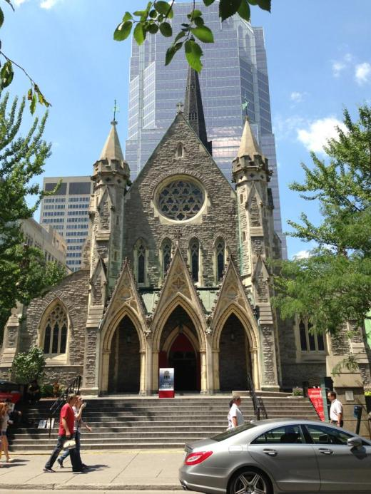 Christ Church Cathedral, Montréal, completed in 1859, a National Historic Site and the regimental church of the Grenadier Guards. Its steeple, built of aluminum in 1940, replaced a stone original that was too heavy for the ground it stood on, so that by 1920 it was leaning over 4 feet. (source unknown)