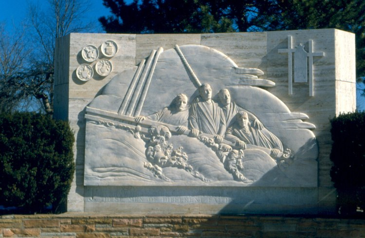 A beloved member of our Daily Office community has asked why we didn't observe the Four Dorchester Chaplains of World War II yesterday, depicted above in a bas-relief in Ann Arbor, Michigan. The short answer is that the Episcopal General Convention did not renew its authorization of a proposed revision of the church calendar containing the chaplains - a Roman Catholic priest, a Methodist minister, a Jewish rabbi and a Reformed Church minister. Thus the official calendar reverts back to the previous one. But we remember their names - Fr. John P. Washington; the Rev. George L. Fox; Rabbi Alexander D. Goode; and the Rev. Clark V. Poling - and their heroism. They gave their lives to save U.S. troops and civilians aboard the Dorchester, helping load them into lifeboats and, when space ran out, giving their own lifejackets that others might be saved. (Wikipedia)