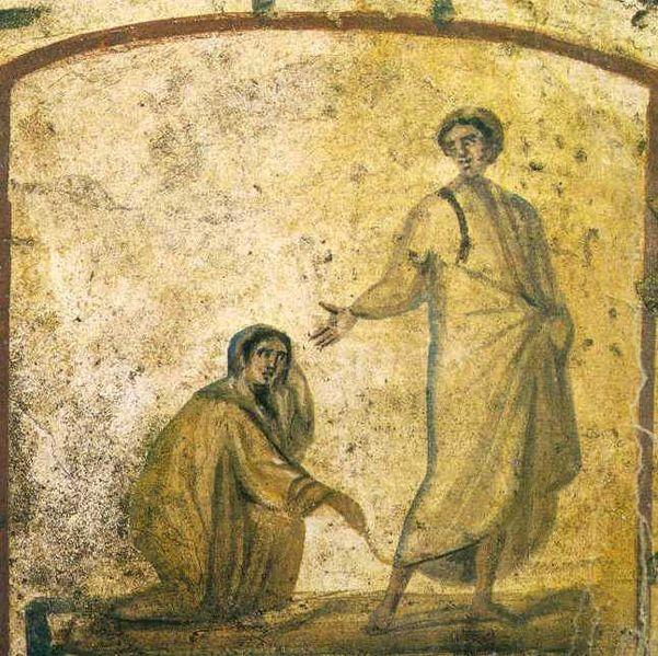 Christ Heals the Bleeding Woman; 6th Century, ancient Roman catacombs.