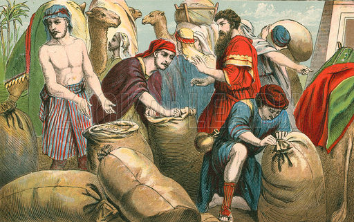 Joseph's brothers find their money hidden in their sacks. (Aunt Louisa's Sunday Picture Book)