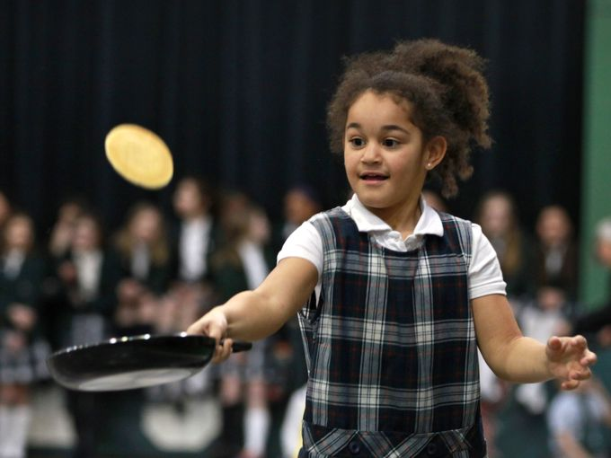 Pancake Race, Run & Flip on Shrove Tuesday 2015 at St. Richard's School, Indianapolis. (Kelly Wilkinson/The Indianapolis Star)