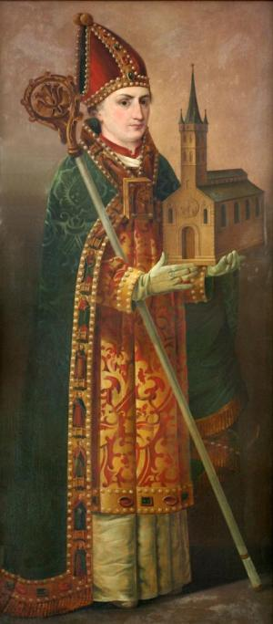 Painting of St. Anskar at Trinity Church, Hamburg, Germany, where he was archbishop. His success as Apostle of the North (Scandinavia) largely by working with various kings and popes to allow Christianity to be an officially tolerated religion. His direct efforts with the local populations were less effective, but there's no doubt of his commitment to the work; he was motivated from a young age by missionary visions he received. Besides statues erected to him in Hamburg and Copenhagen, and a landmark cross on the Swedish island of Birka, Anskar has a crater on the Moon named for him. (Uwe Barghaan)