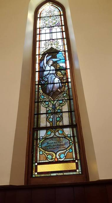 Angel window in my home parish, St. John's, Lafayette, Indiana. (Cresta Cates)